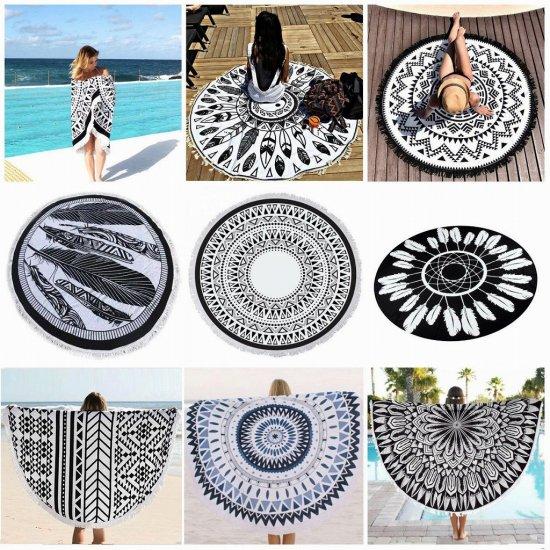 【大特価】9デザイン ブラック&ホワイト モノトーン ラウンドビーチマット タペストリー ビーチラグ ピクニック …