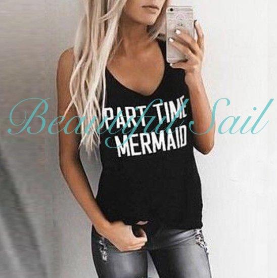 【大特価】ブラック フロントロゴ mermaid ノースリーブ タンクトップ トップス カットソー インポート …