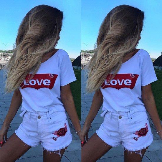 【大特価】ホワイト LOVE ロゴプリント パロディ 半袖Tシャツ カットソー トップス レディース 通販
