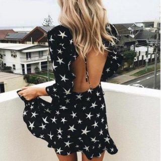 【大特価】ブラック スター 星 バックレス 背中開き カットアウト ラッフルフリル 七分袖 ミニスカート ワンピース 通販