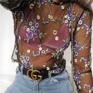 【大特価】ブラック×パープル 花柄 フラワー 刺繍デザイン シースルー 長袖 カットソー トップス 通販