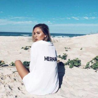 【大特価】ホワイト バックロゴ MERMAID ルーズ 白シャツ ブラウス トップス インポート 通販