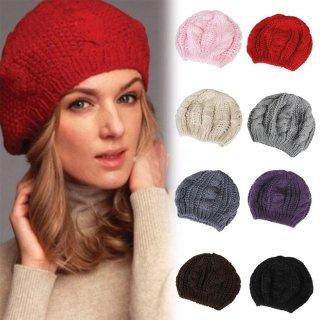 【大特価】8色展開 無地 シンプル ケーブル編み ニットベレー帽 ニット帽 ビーニー インポート 通販