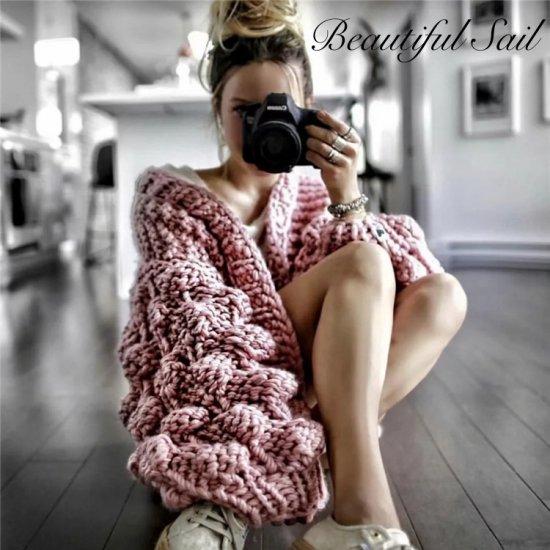 【大特価】ピンク ざっくり編み チャンキーニット ポンポン スリーブ ニットカーディガン ガウン ジャケット 通販