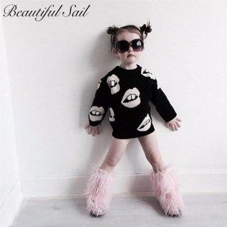 【大特価】ベビー キッズ ママとおそろコーデ♪ ペアルック リップデザイン セーター ニット 子供服 インポート 通販
