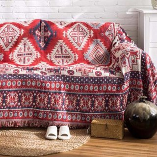 【大特価】レッド ネイティブ柄 オルテガ ジオメトリック 裾フリンジ マルチカバー ラグマット ブランケット 通販