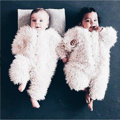 【大特価】ホワイト モコモコ プードルファー 新生児 ベビー服 ロンパース カバーオール インポート 通販