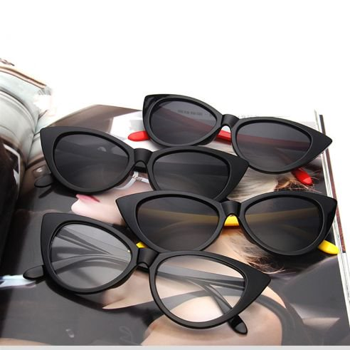 【大特価】6色展開 カラフル ホワイト ブラック キャットアイサングラス キャットアイ だてめがね クリアレンズ インポート 通販