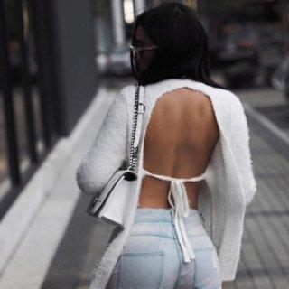 【大特価】ホワイト 無地 バックレス 背中開き モヘア フェイクファー ニット セーター 長袖 トップス 通販