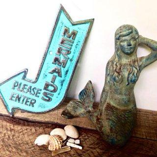 【大特価】29色展開 Mermaid マーメイド サイン ミニ看板 ウォールオブジェ インテリアオブジェ 置物 海外インテリア ハワイ 通販