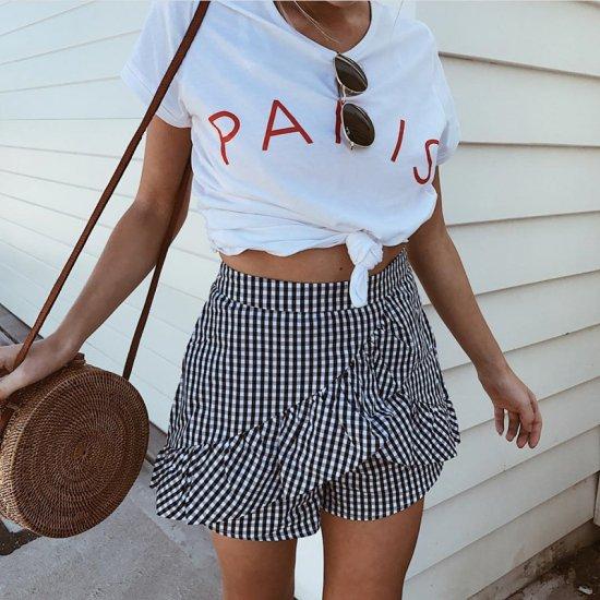 【大特価】ホワイト PARIS フロントロゴ 半袖 Tシャツ トップス インポート 通販