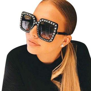 【大特価】8色展開 ラインストーン ビジュー スクエアサングラス でかサングラス 通販