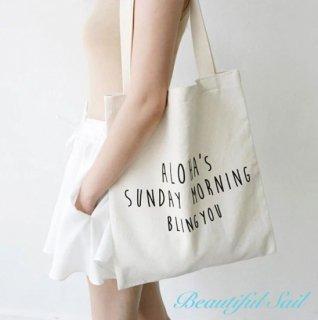 【大特価】ALOHA'S SUNDAY MORNING BLING YOU フロントロゴ エコバッグ トートバッグ サブバッグ