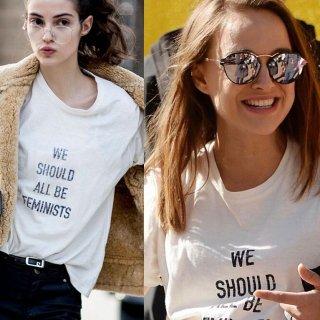 【大特価】ホワイト We Should All Be Feminists フロントロゴ フェミニスト クルーネック 半袖 Tシャツ カットソー トップス 通販