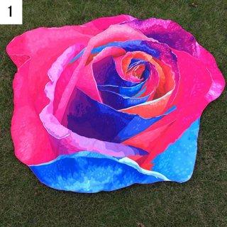 【大特価】4色展開 3D フラワー 花柄 ローズ グラデーションカラー ビーチマット ビーチラグ ヨガ ボヘミアン 通販