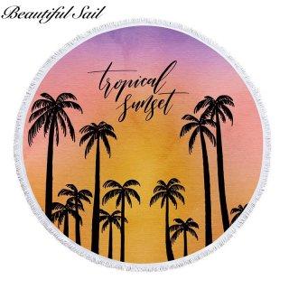 【大特価】グラデーションカラー サンセット パームツリー ヤシの木 tropical sunset ロゴデザイン フリンジトリム ラウンドビーチタオル ラウンドラグ ビーチマット