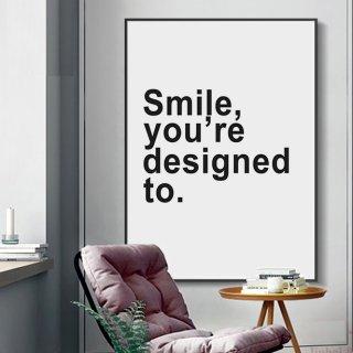 【大特価】7サイズ Smile your designed to モノトーン キャンバスポスター アートプリント ウォールアート 海外インテリア インテリア雑貨