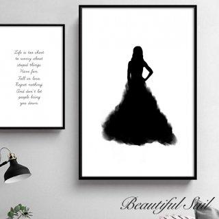 【大特価】7サイズ ドレスデザイン モノトーン キャンバスポスター アートプリント ウォールアート 海外インテリア インテリア雑貨