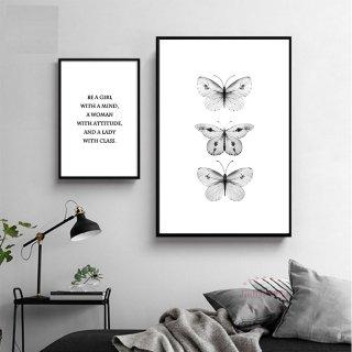 【大特価】7サイズ バタフライ 蝶々 モノトーン キャンバスポスター アートプリント ウォールアート 海外インテリア インテリア雑貨