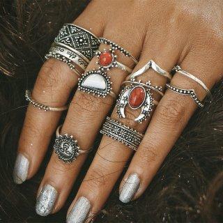 【大特価】シルバー 14本セット アンティークシルバー フェイクストーン レッドストーン リングセット 指輪セット アクセサリー  通販