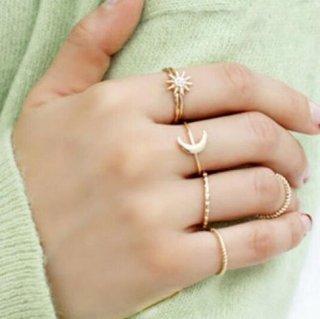 【大特価】ゴールド 6本セット クレセントムーン スター 星 華奢リングセット 指輪 ミディリング シンプル インポート 通販