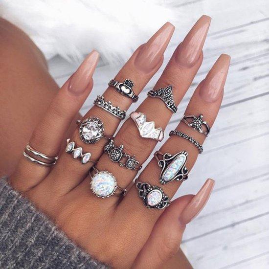 【大特価】シルバー アンティークシルバー 12本セット フェイクストーン ホワイトストーン リングセット 指輪セット ボヘミアン 通販
