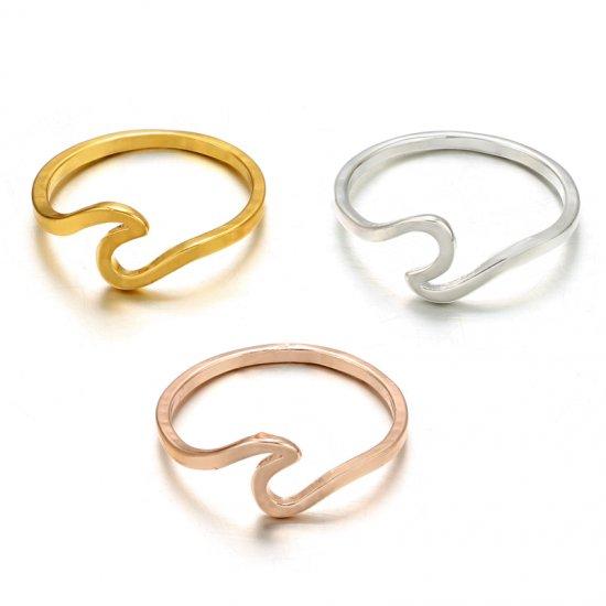 【大特価】3色展開 ゴールド シルバー ローズゴールド シンプル ワイヤーデザイン ウエーブリング 波 ビーチ ハワイ アクセサリー 通販