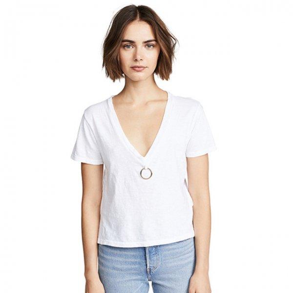 【大特価】ホワイト 無地 シンプル メタルリング サークルリングチャーム Vネック Tシャツ 半袖 トップス カットソー 通販