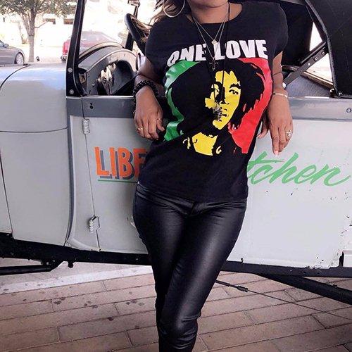 【大特価】ブラック ボブ・マーリー レゲエ ラスタカラー フォトプリント Tシャツ 半袖 トップス カットソー 通販