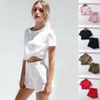 【大特価】5色展開 リブデザイン クルーネック フロントツイスト Tシャツ 半袖 トップス カットソー ショートパンツ セットアップ 通販