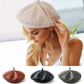 【大特価】4色展開 ブラック グレー ピンク ブラウン フェイクレザー 合皮 ベレー帽 ベレーキャップ 通販