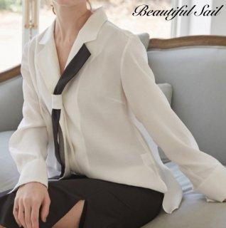 【大特価】ホワイトxブラック カラーブロック コントラストカラー ネクタイデザイン 開襟シャツ ブラウス トップス カットソー 通販