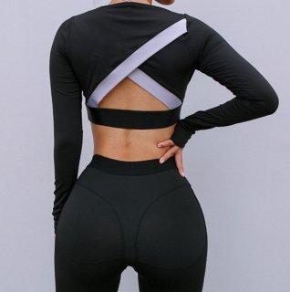 【大特価】ブラック 無地 シンプル バックレス 背中開き カラーブロック コントラストカラー 長袖 クロップドトップス カットソー 通販