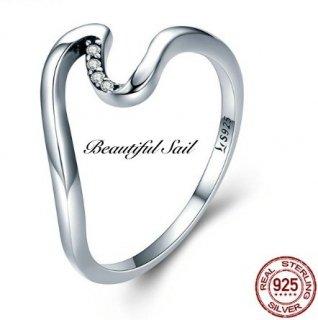 【大特価】スターリングシルバー 925 ラインストーン ウエーブリング 波モチーフ 指輪 インポートアクセサリー 通販