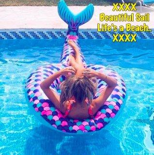 【大特価】ブルー&パープル マーメイドスケール マーメイドテール 浮き輪 プールフロート インポート 通販