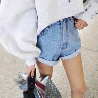 【大特価】5色展開 裾ロールアップ ハイウエストデニムショートパンツ 無地 シンプル ボトム 通販