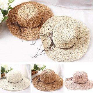 【大特価】4色展開 クロシェ編み ストローハット 折り畳み可能 麦わら帽子 フェイクレザーリボン 通販