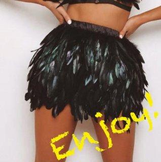 【大特価】ブラック フェザー 羽根 グラデーションカラー ミニスカート ダンサー 衣装 ボトム インポート 通販