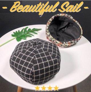 【大特価】2色展開 プレイドチェック柄 タータンチェック柄 ベレー帽 ベレーハット インポート 通販