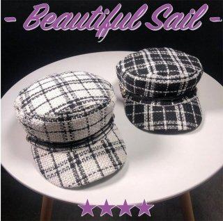 【大特価】2色展開 ツイード調 プレイドチェック柄 タータンチェック柄 キャスケット マリンキャップ 帽子  インポート 通販