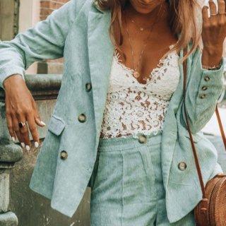 【大特価】ミントグリーン リブデザイン コーデュロイ ダブルブレスト ダブルボタン 長袖 テーラードジャケット ブレザー 通販
