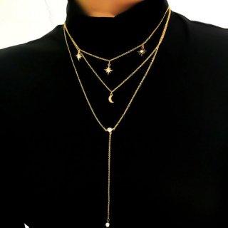 【大特価】2色展開 シルバー ゴールド スター 星 クレセントムーン ラインストーン ラリアットネックレス レイヤードネックレス