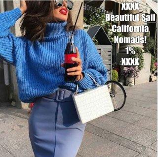 【大特価】ロイヤルブルー 無地 シンプル リブデザイン ボトルネック ハイネック ニット セーター トップス カットソー プルオーバー 通販