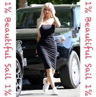 【大特価】カイリー・ジェンナー着用風 3色展開 ネオンカラー チューブトップ ベアトップ タイトワンピース ミディワンピース 通販