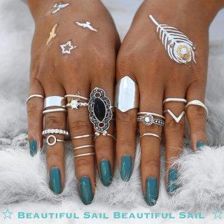 【大特価】メタリックシルバー ブラック フェイクストーン リングセット 指輪 ボヘミアン ファランジリング 通販