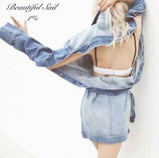 【大特価】ブルー メタルバックル ウエストベルト バックレス 背中開き オーバーサイズ Gジャン デニムジャケット ワンピース風デザイン 通販