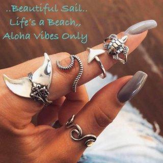 【大特価】シルバー 5本セット ホエールテール ウエーブ 波デザイン リングセット 指輪セット ホヌ ハワイアンモチーフ
