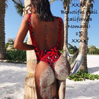 【大特価】レッド レオパード柄 ひょう柄 タンクトップ ノースリーブ モノキニ ワンピースビキニ バックレス 背中開き インポート 通販