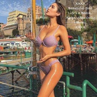 【大特価】ラベンダーパープル プッシュアップビキニ アンダーワイヤー プリーツデザイン インポート 水着 通販
