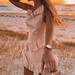 【大特価】ライトピンク ドット柄 水玉柄 ラッフルフリル ワンショルダー タンクトップ ノースリーブ ミニワンピース 通販
